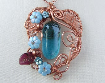 Heart and Flowers Pendant, Shiny Copper Wire Necklace, Gift for Mom or Grandma