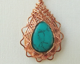 Copper Wire Wrapped Pendant, Teardrop Turquoise Magnesite, 7th Anniversary Gift for Her