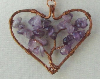 Purple Amethyst Tree of Life Heart Shaped Pendant, Copper Wire Wrapped Jewelry, Gift for Women, 7th Anniversary Gifts for Her