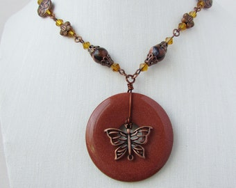 Beaded Necklace, Butterfly and Flowers, Bohemain Style, Antique Copper, Gift for Mom