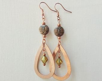 Long Teardrop Earrings, Boho Drop Earrings, Earthy Copper,  Seventh Anniversary Gift for a Wife or Girlfriend