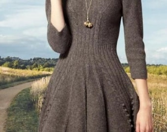 Hand-knitted dress/knitted dress. Alpaca/wool/polyacrylic. Color taupe. On order.