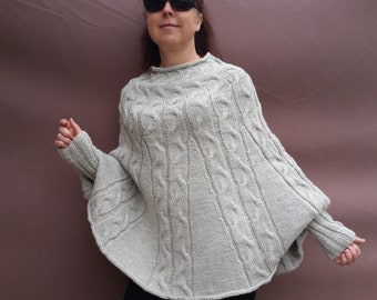 Hand-knitted cape/ poncho with sleeves. Wool/Alpaca. Gift for you. To order.