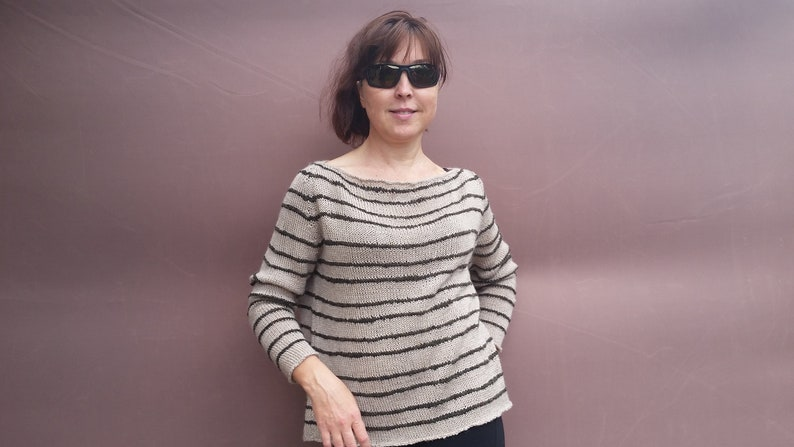 Colour beigedark green Submarine cutout WoolPolyacrylic knitted sweater Hand knitted oversize sweater Gift for you.