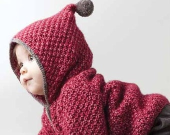 Baby knitted coat, small jewel sweater jacket / cardigan. Wool/cotton. On order.