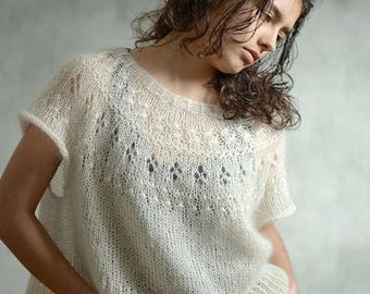 Hand knitted pullover/oversize sweater/knit sweater. Kid Mohair/Silk. To order.