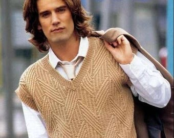 Hand knitted men's knitted vest/ sweater. Wool (merino wool). To order.