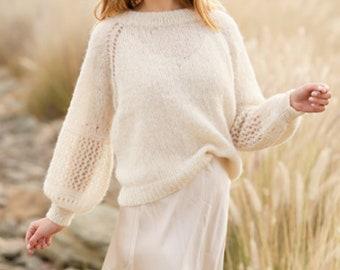 Hand-knitted sweater with raglan. Hole pattern. Balloon sleeves. summer. Alpaca/silk. On order.