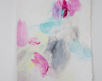 SALE** Small Abstract Drawing on Paper with Turquoise, Magenta, and Gray