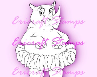 Digital Stamp- Chubby Unicorn with and without crown - PNG image for cards and crafts by Erica Bruton