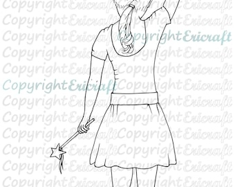 Digital Stamp- Rachel Ballerina - Jpeg and Png image for cards and crafts by Erica Bruton