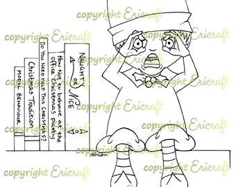 Digital Stamp - Shocked elf - 300dpi jpeg file by Erica Bruton