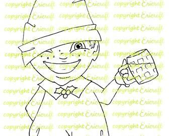 Digital Stamp - Jolly Elf - 300dpi jpeg file by Erica Bruton
