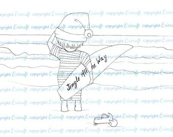 Digital Stamp - Elf going Surfin' - 300dpi Jpeg file by Erica Bruton