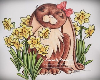 Digital Stamp set - Bunny and Daffodils - PNG image for cards and crafts by Erica Bruton