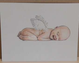 Digital Stamp- Angel Baby - Jpeg and Png image for cards and crafts by Erica Bruton