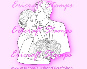 Digital Stamp - Happy couple (set) - PNG image for cards and crafts by Erica Bruton