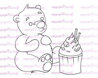 Digital Stamp - Beary Cupcake - 300dpi jpeg file by Erica Bruton