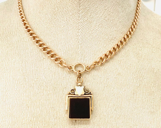 Superb antique 116 year old Edwardian 9ct rose gold 16 inch Albert chain necklace with Carnelian spinning fob pendant - Birmingham 1903