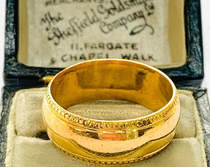 Stunning heavy vintage 22ct yellow gold milled edged wedding ring - hallmarked Birmingham 1990 - size P - 7 1/2