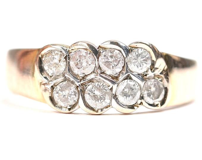 Stunning vintage 9ct gold 0.80 diamond ring - size P or US 7 1/2