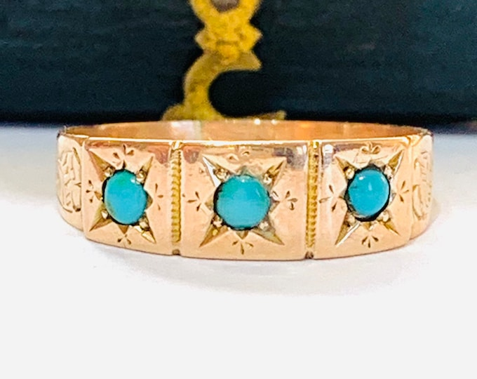 Stunning antique 120 yesr old Victorian 9ct rose gold Turquoise ring - hallmarked Birmingham 1899 - size L 1/2 or 5 3/4