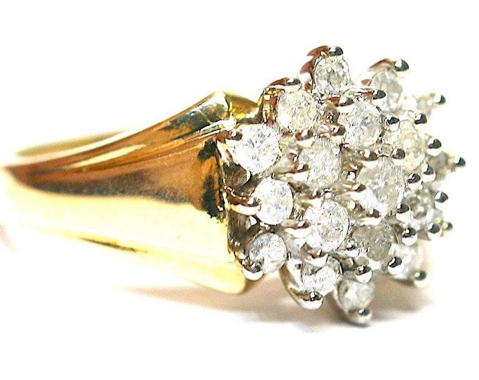 Stunning sparkling vintage 9ct yellow gold 0.50 carat Diamond ring - fully hallmarked - size H or US 3 3/4