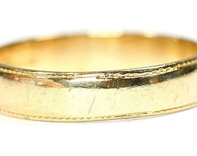 Vintage 18ct yellow gold wedding ring - Birmingham 1988 - size i or US 4 1/4