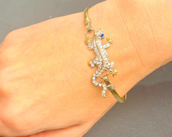 Stunning vintage 9ct gold Lizard bangle with Cubic Zirconia - fully hallmarked