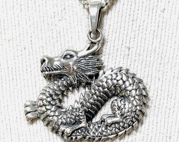 Stunning vintage sterling silver Dragon pendant - stamped 925