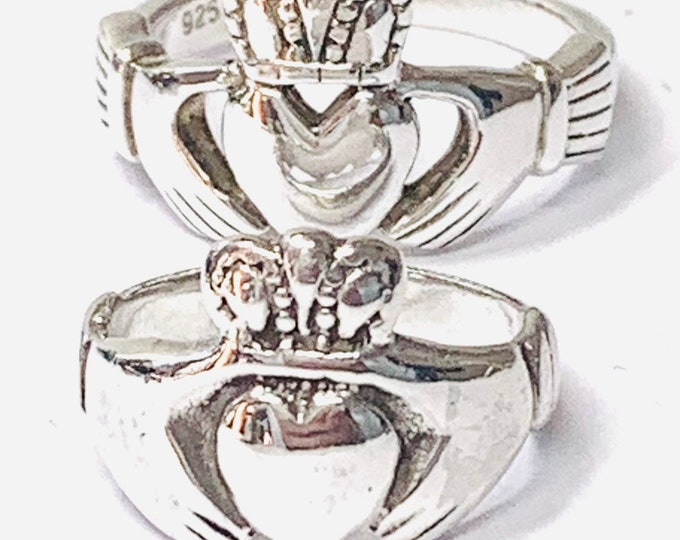 Stunning vintage sterling silver 'his and hers' Claddagh / wedding rings - size T & L or US 9 1/2 - 5 1/2