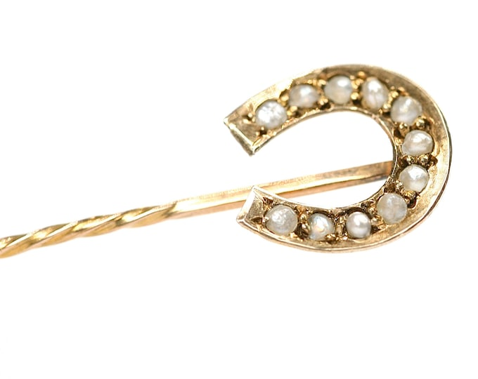 Stunning antique 9ct gold natural seed pearl lucky horseshoe stick pin - stamped 9CT - 50mm in length