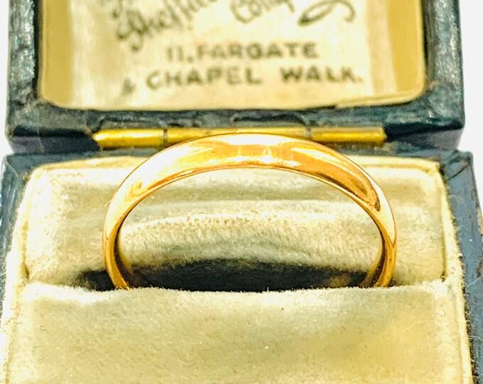 Antique 22ct gold wedding ring - Birmingham 1926 - size N - 6 1/2