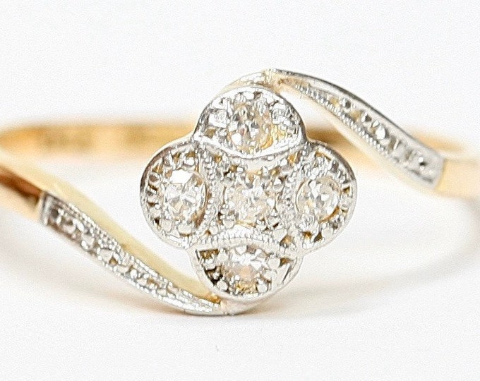 Beautifully sparkling antique Art Deco 18ct gold & platinum Diamond engagement ring - size N / US size 6.5