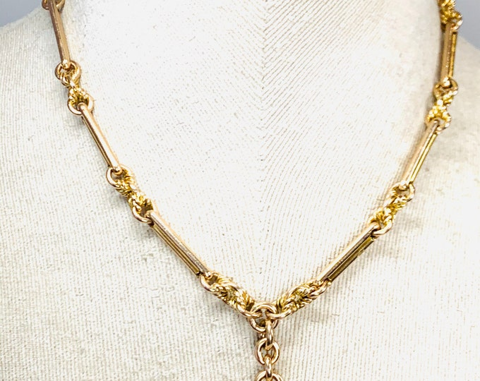 Victorian 9ct yellow gold 16 inch Albert chain necklace- hallmarked Birmingham 1887 - 50gms
