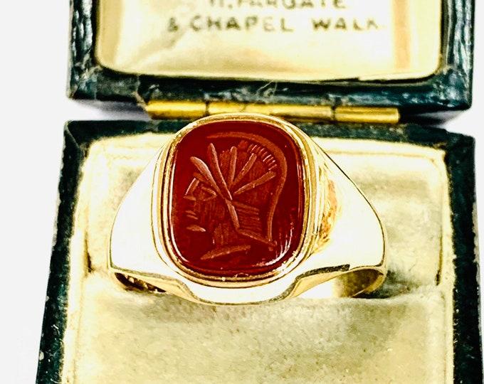 Stunning vintage 9ct gold Carnelian Intaglio Centurion's Head signet or pinky ring - Birmingham 1985 - size T - 9.5
