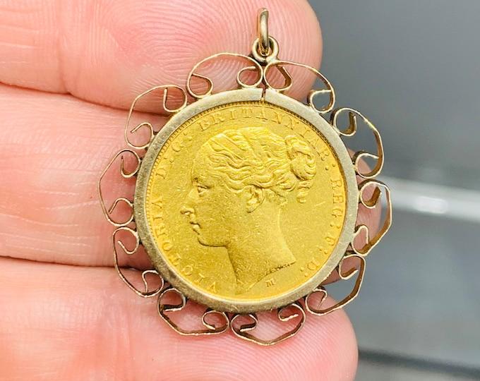 Superb antique Victorian 22ct gold full Sovereign pendant - 1883
