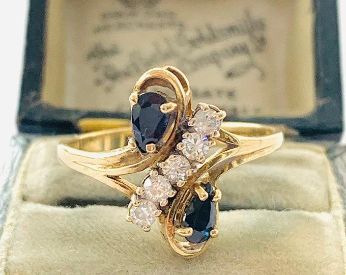 Stunning vintage 9ct yellow gold Sapphire & Cubic Zirconia dress ring - Birmingham 1991 - size P - 7 1/2