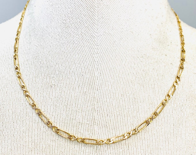 Superb vintage 9ct yellow gold 18 inch fancy link necklace - hallmarked London 1994 - 8.5gms