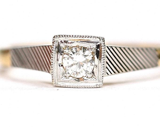 Superb vintage 18ct gold and Platinum Diamond ring/ engagement ring - size K or US 5 1/4