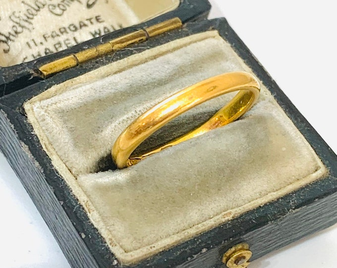 Stunning vintage 22ct gold wedding ring - London 1951 - size O or 7