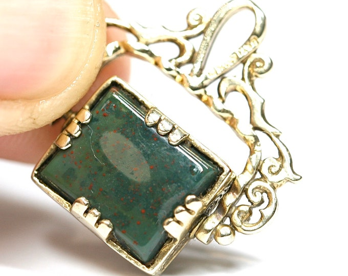Stunning vintage 9ct gold Bloodstone & Onyx swivel fob pendant - fully hallmarked