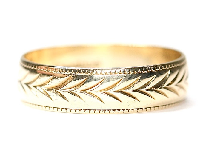 Vintage 9ct yellow gold patterned wedding ring - hallmarked London 1996 - size S or US 9