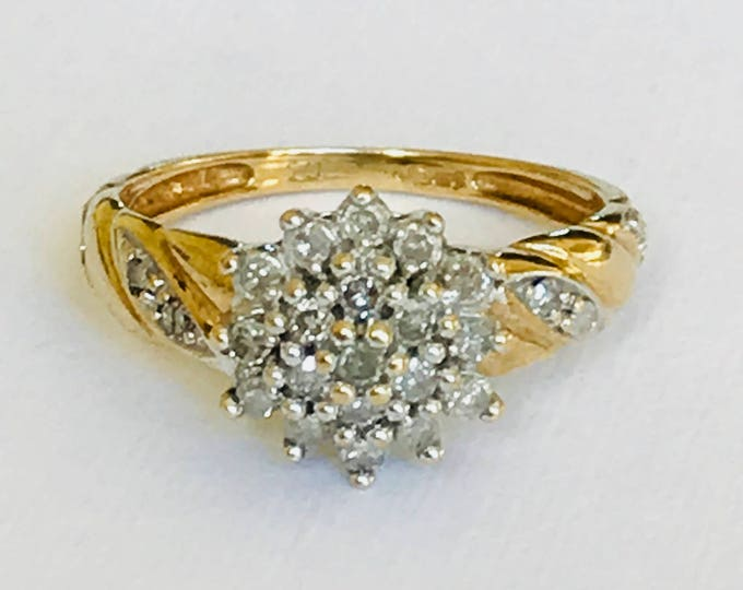 Vintage 9ct gold 0.25 diamond cluster ring - fully hallmarked