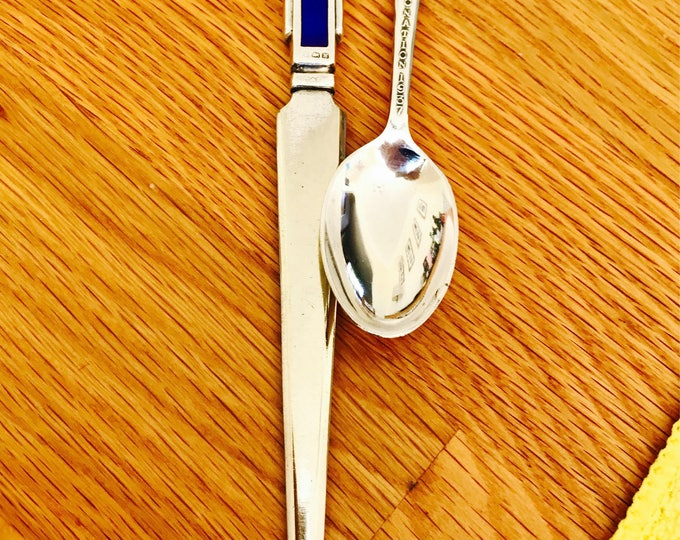 Rare Sterling silver enamelled 1937 King George VI Coronation letter knife & commemorative spoon