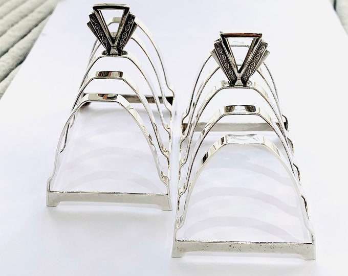 Stunning matching pair of antique Art Deco Sterling Silver toast or letter racks - Birmingham 1939