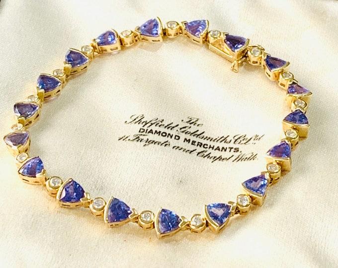 Fabulous 18ct yellow gold Tanzanite and Diamond tennis bracelet - fully hallmarked