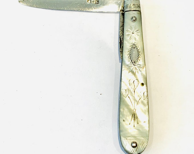 Stunning antique Georgian silver and MOP fruit knife - circa 1800