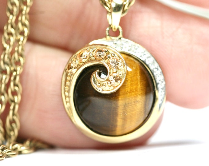 Superb vintage 9ct yellow gold Tigers Eye pendant with Citrine and Diamonds on a 19 inch gold chain - fully hallmarked