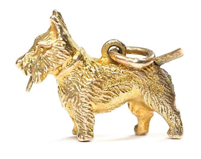 Stunning vintage 9ct yellow gold Scottie Dog charm - hallmarked Birmingham 1973